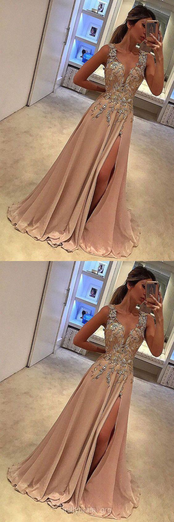 Champagne Prom Dresses, Lace Prom Dresses, Long Prom Dresses 2018, A-line Prom Dresses For Teens, V-neck Prom Dresses Chiffon