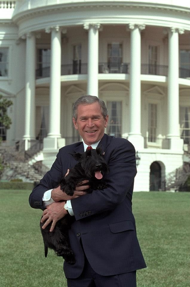 President George W. Bush with his dog Barney