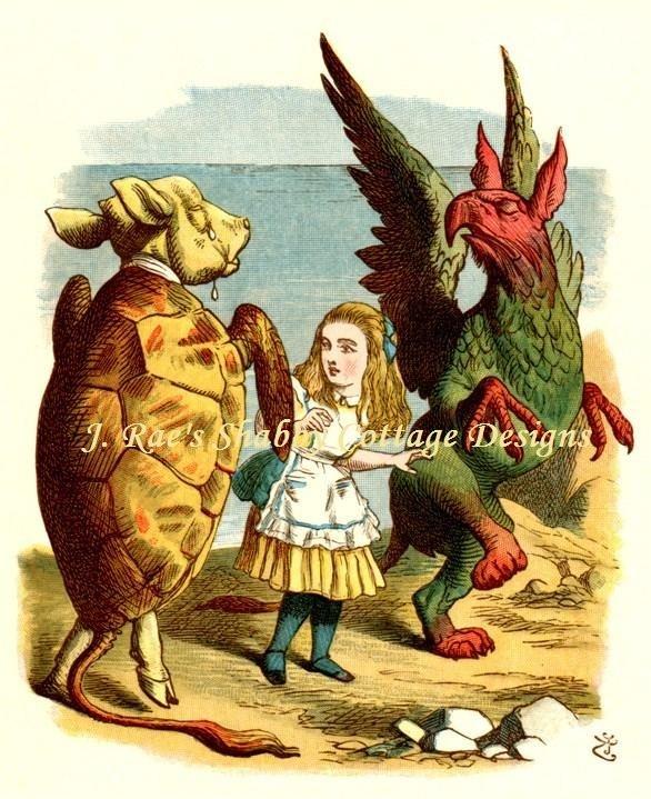 Alice In Wonderland Mock Turtle & Griffin by JRaesShabbyCottage