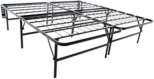 Queen Size Platform Bed Frame And Box Spring In One Foldable Base Black Modern Contemporary Traditional In 2020 Steel Bed Frame Adjustable Bed Frame Bed Frame Mattress