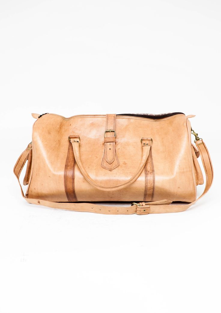 Handcrafted Genuine Leather weekend bag - Natural Tan - Leather Weekender Bags & More - Onceit