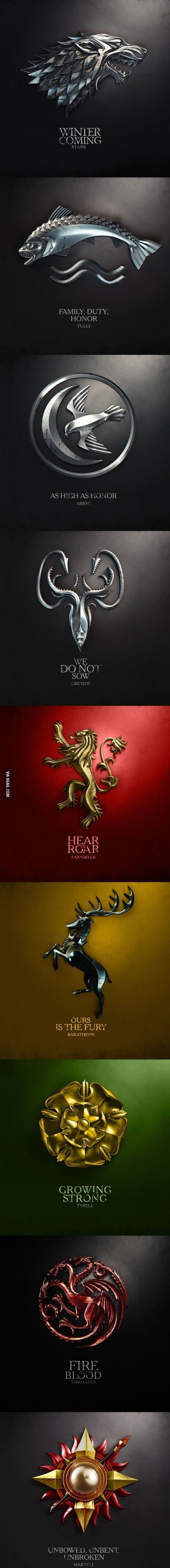 Game of Thrones Houses and Mottos