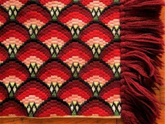 Bargello Needlepoint Piano Bench Cover or Table by LovelyOldLinens