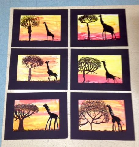 Giraffe Silhouettes in the    African Savanna     2nd Grade                   First, the students drew a giraffe and painted it black .  ...