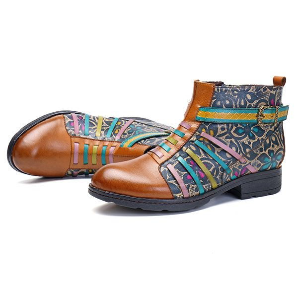 SOCOFY New Printing Retro Splicing Stripe Pattern Flat Leather Boots