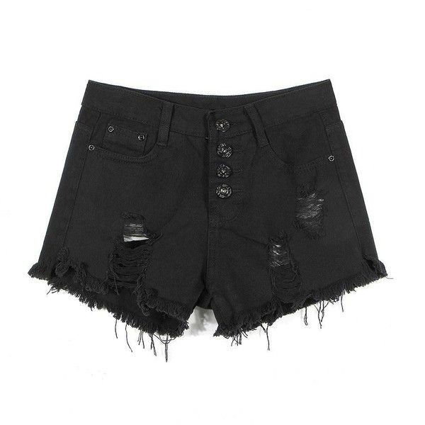 Yoins Black Fringe Ripped Denim Shorts-Black  S/M/L ($14) ❤ liked on Polyvore featuring shorts, bottoms, pants, black, black jean shorts, high-waisted jean shorts, black shorts, black high waisted shorts and destroyed denim shorts