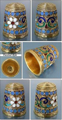 Fine Antique Russian Enameled Filigree Gilt Thimble by G. Klingert; Circa 1890Enamels Filigree, Gilt Thimble, Circa 1890, Antiguos Dedales, Antiques Russian, Fine Antiques, Filigree Gilt, Dedales Ruso, Antiques Thimble