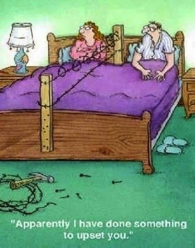 Funny Marriage Bed Argument Cartoon Joke Picture