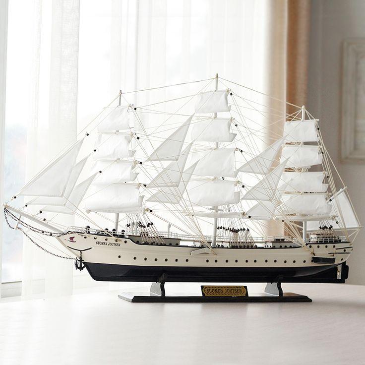 European large Swan handmade wooden craft boat sailing ship model Home Furnishing Mediterranean decorative ornaments #Affiliate