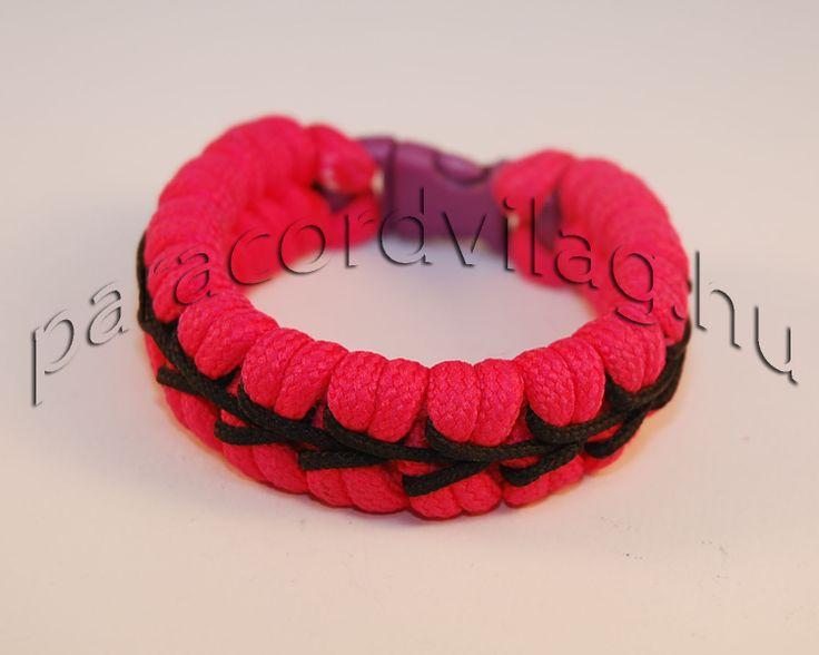 Paracord fishtail karkötő/Rózsaszín-Fekete