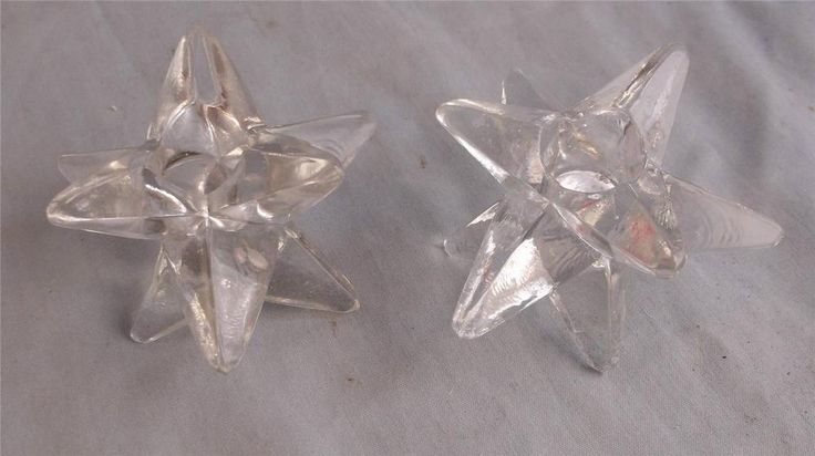 RETRO MIDCENTURY STYLE PAIR OF CLEAR GLASS STAR CANDLEHOLDERS  BLENKO?