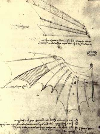 Leonardo da Vinci: Sketch of a flying machine ca. 1490. Not bad for a guy who never ever got to see The Jetsons.