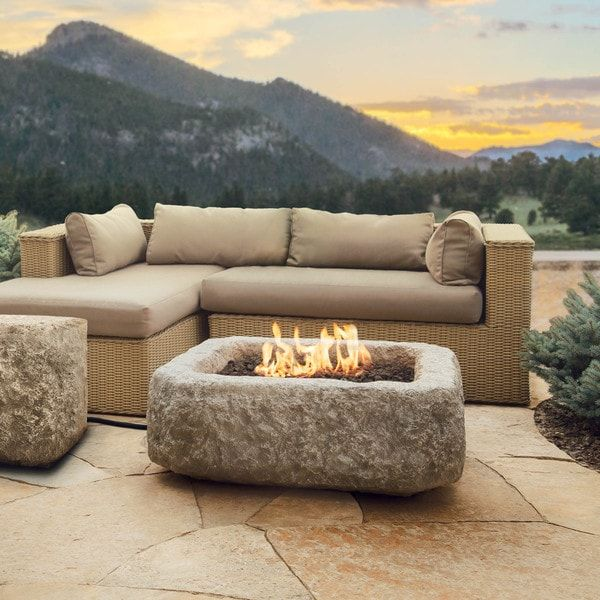 Real Flame Antique Stone 37 in. L x 37 in. W x 14 in. H Square Propane Fire Pit