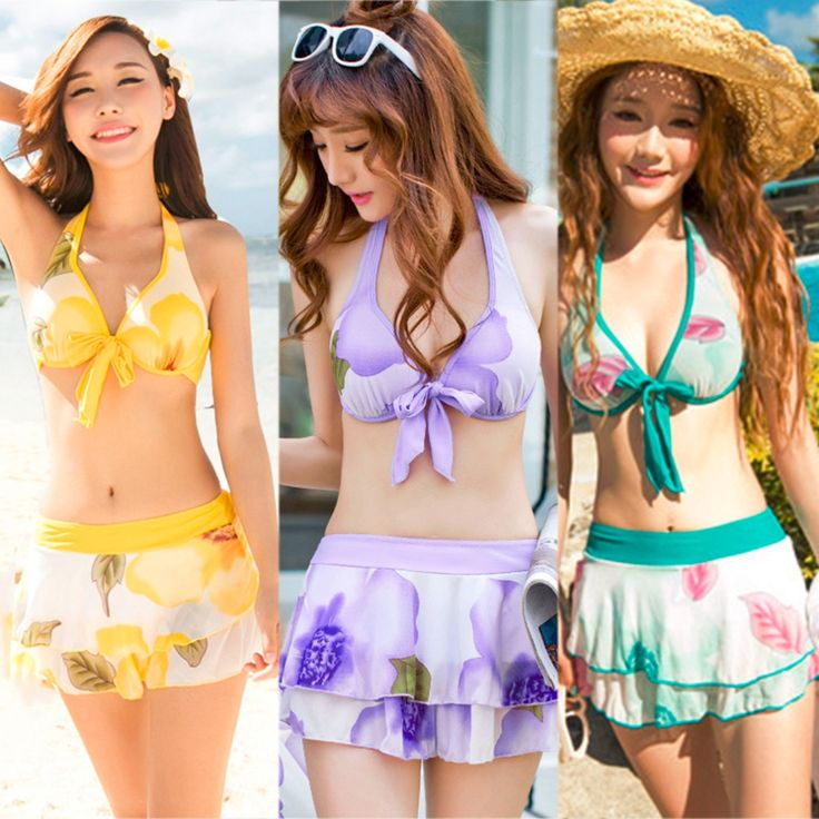 88.44$  Watch now  - HW2016 Vrouwen Retro Bloem Halter Bikini Top Swim Bodem Strand Korte Rok Cover Blouse Jurk Set Badpak 3 Stks