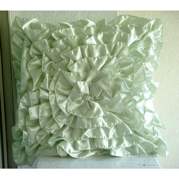 Mint Green Ruffles  Euro Sham Covers 26x26 by TheHomeCentric