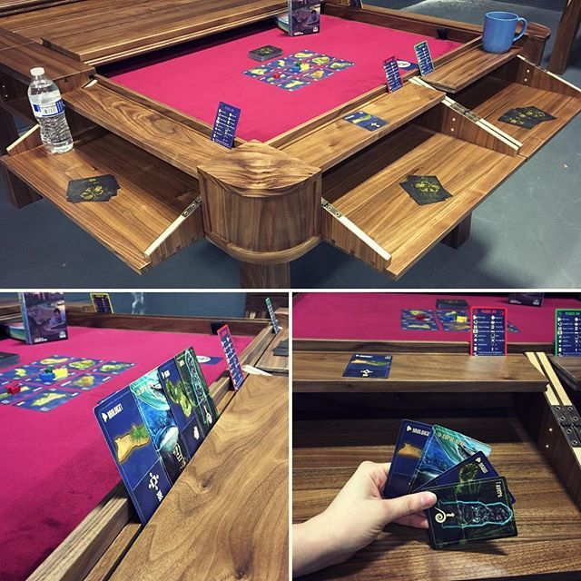 Love opening up one end and playing a quick game! #TheVizier #cardholder #gamingtable #geekchictable #geekchicfurniture #woodworking #woodshop #walnutwood #heirloomquality #handmade #interiordesign #games #gaming #paradisefallen #gamevault #boardgame #boardgames