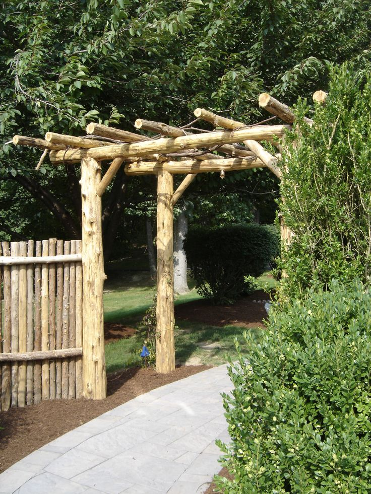 Natural cedar pergola rustic pergolas pinterest for Rustic gazebo kits