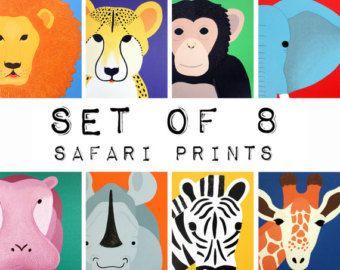 Pépinière de Safari imprime pour bébé & enfant. La par Wallfry