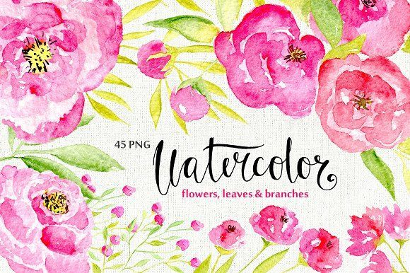 45 pink watercolor flowers by WatercolorS on @creativemarket