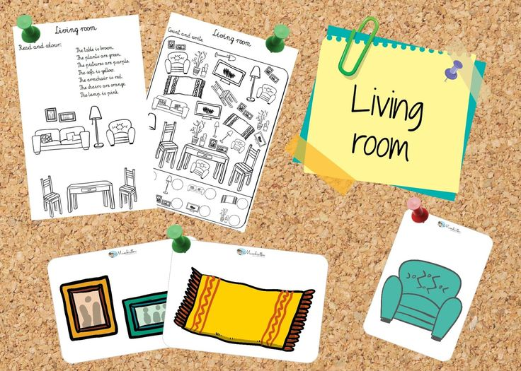 Mambiatka | English for kids | Resources for teachers and parents: Living room: flashcards & worksheets