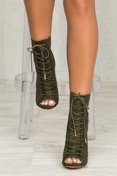 Veras Lace Up Bootie (Olive)