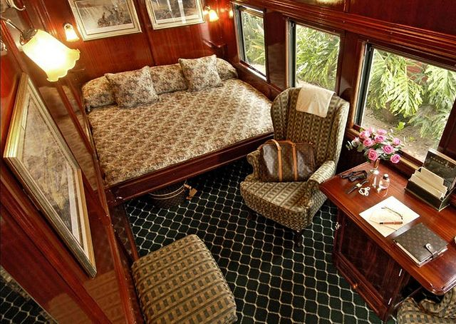 Interior of a bedroom on the luxury train safari in southern Africa