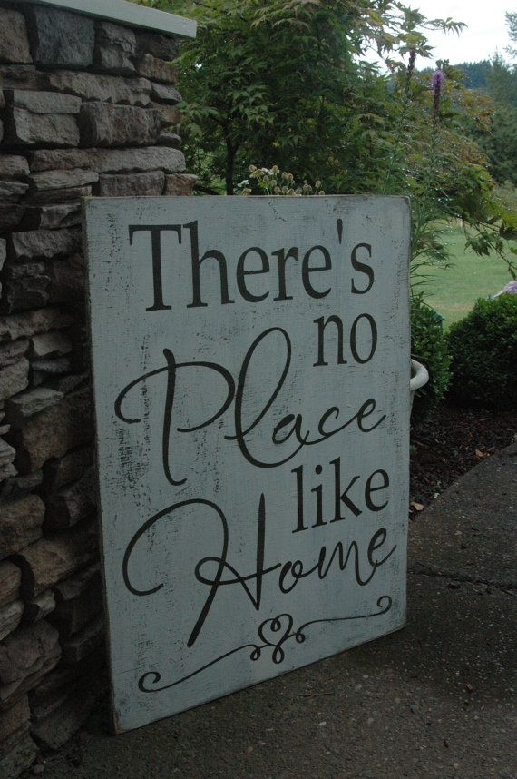 LARGE There's no place like home PAINTED rustic wood sign