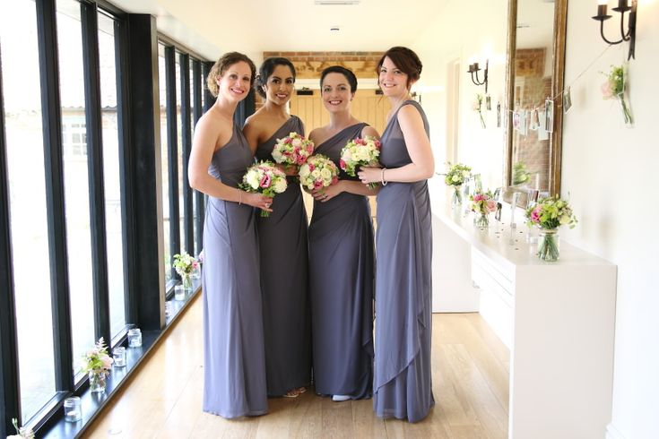 bridesmaids in slate grey at the granary barns, newmarket suffolk