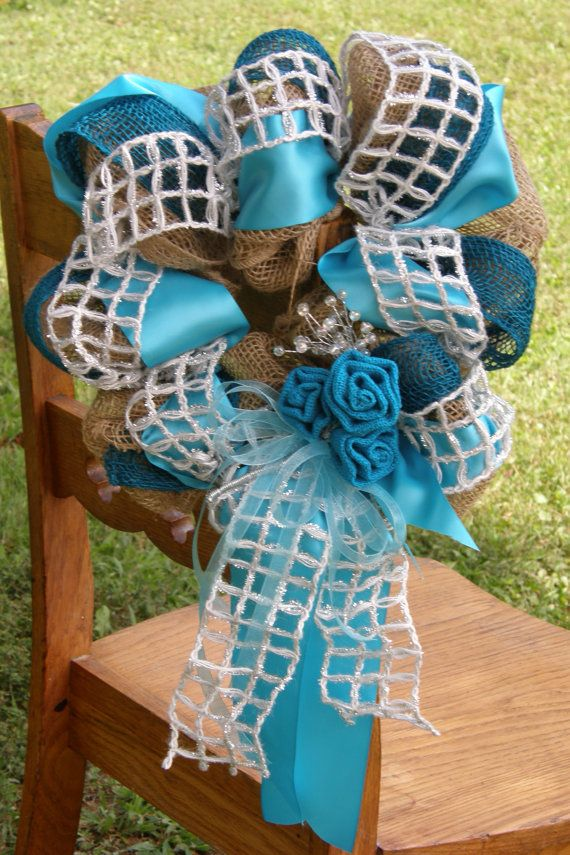 Turquoise Wedding Decor Turquoise Burlap by Underthekentuckysun