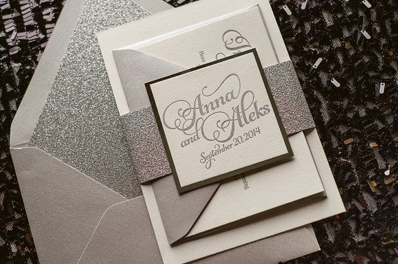 Silver Wedding Invitation Silver Glitter by FlairNecessities, $150.00