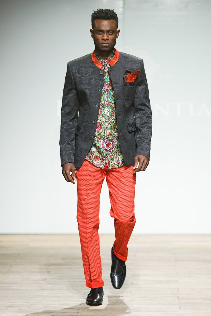 Mandarin jacquard weave blazer with printed contrast collar detail worn with printed silk shirt with red micro circle print pants. #SAFW #PresidentialSAFW #SAFWmen #SAFW17 #AfricanHauteCouture
