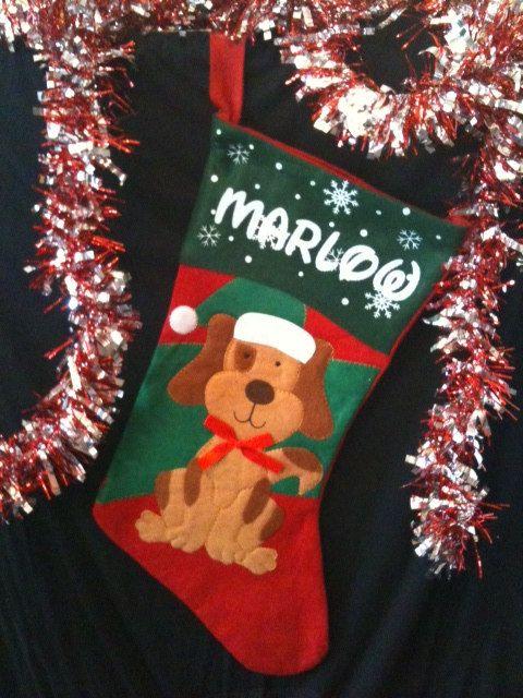 1 personalized your Dog's name Christmas Stocking 16 by signlady4u, $11.50