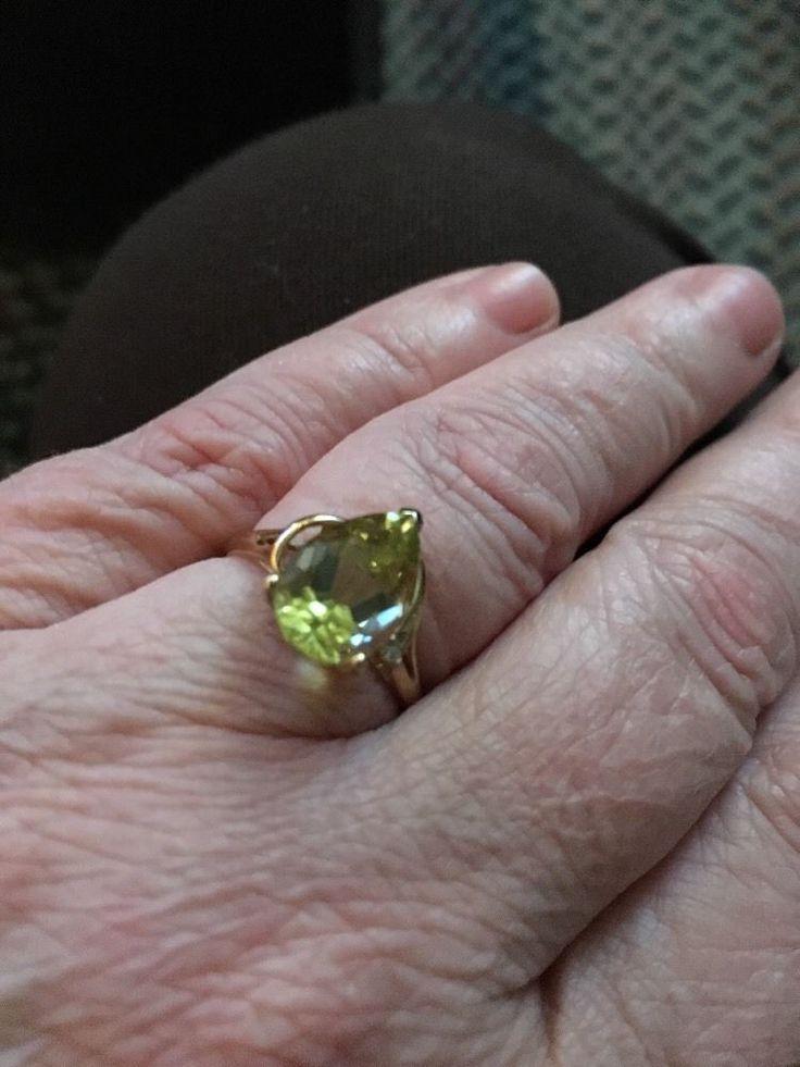 Lemon quartz Ring 3 Ct pear shaped W/diamond Accent 10 Kt Yellow Gold Size 8    eBay