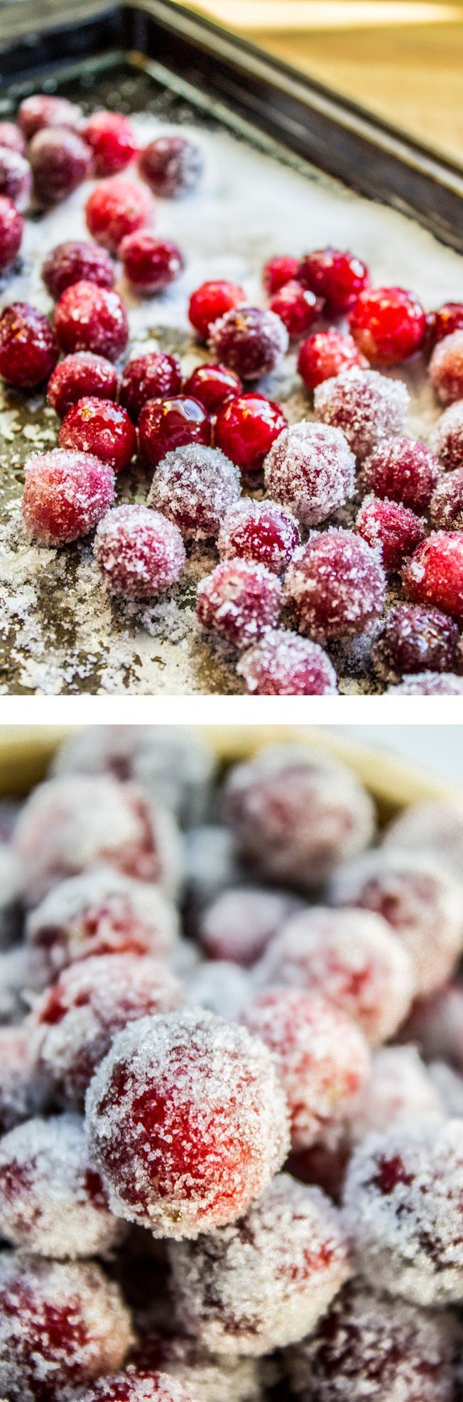 The Easiest Sugared Cranberries - The Food Charlatan // These gorgeous, sparkling cranberries are the perfect appetizer or dessert garnish for Thanksgiving and Christmas! You don't even have to make your own simple syrup (and risk popping your cranberries). This recipe is totally foolproof.