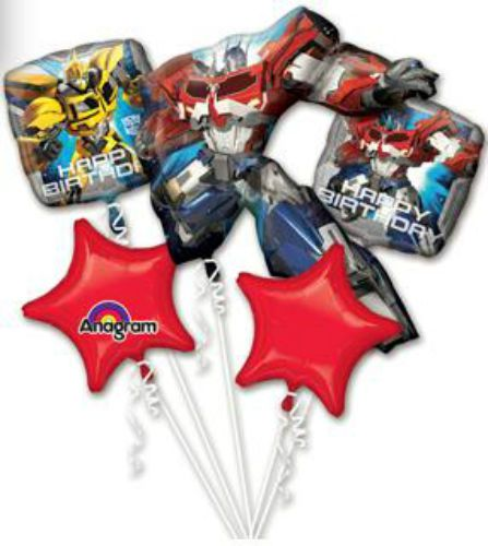 ☆TRANSFORMERS,PRIME-ANAGRAM-BALLOONS-MYLAR-BOUQUET-5 PIECES-QUANTITY=1 PACKAGED☆ #Anagram #BirthdayChild