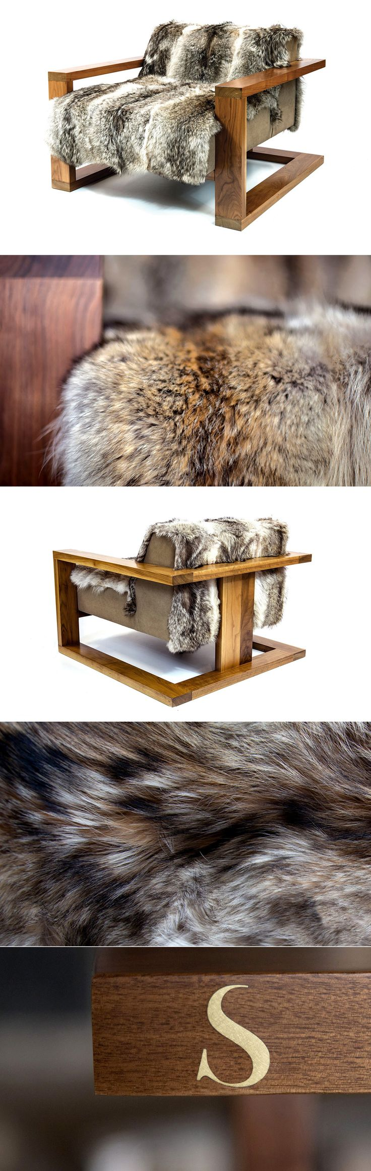 SENTIENT Caribou Lounge http://www.sentientfurniture.com/sentient-caribou-lounge An original design statement from SENTIENT combining luxurious fur with American black walnut. The Caribou lounge chair uses Coyote fur which is soft and deep and has a wide variation of colors and tones. The structure floats in a solid American black walnut frame which contrasts assuredly with the irregular shapes and variations of the fur. It is an iconic piece of furniture for use any any setting.