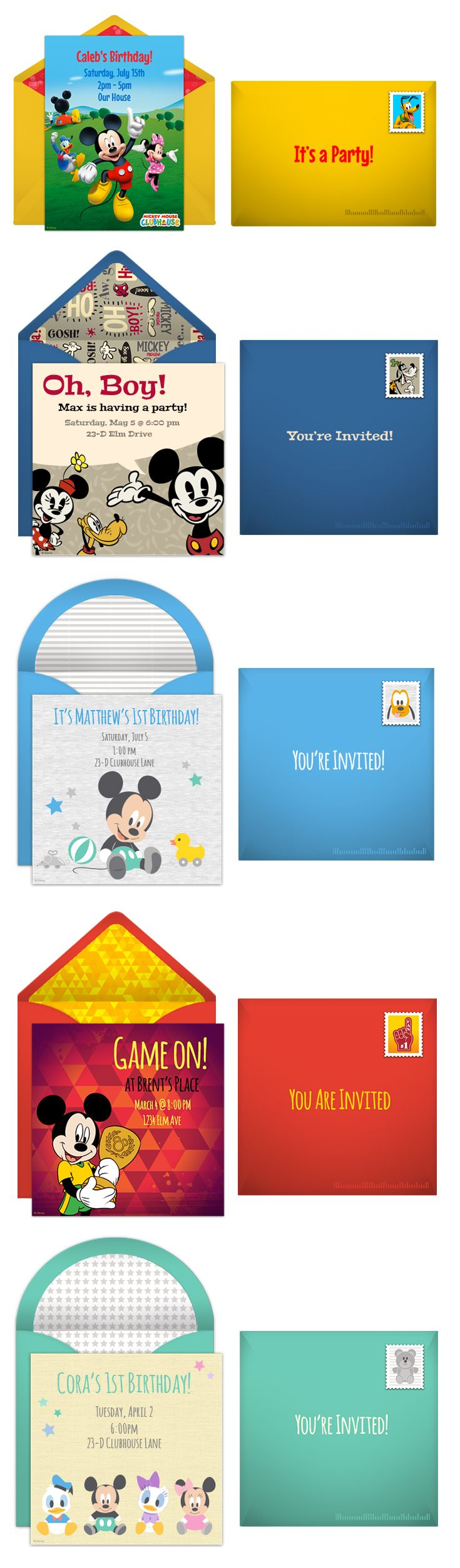 Paper invites are too formal, and emails are too casual. Get it just right with online invitations from Punchbowl. We've got everything you need for your Disney themed party.  http://www.punchbowl.com/disney/groups/mickey-mouse/?utm_source=Pinterest&utm_medium=1.31P