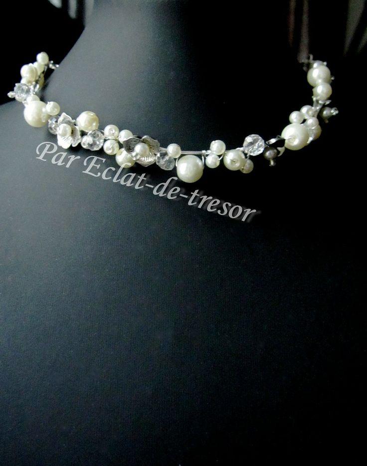 Collier Mariage Aeden, fleurs et perles ivoire nacré via Eclat de tresor. Click on the image to see more!