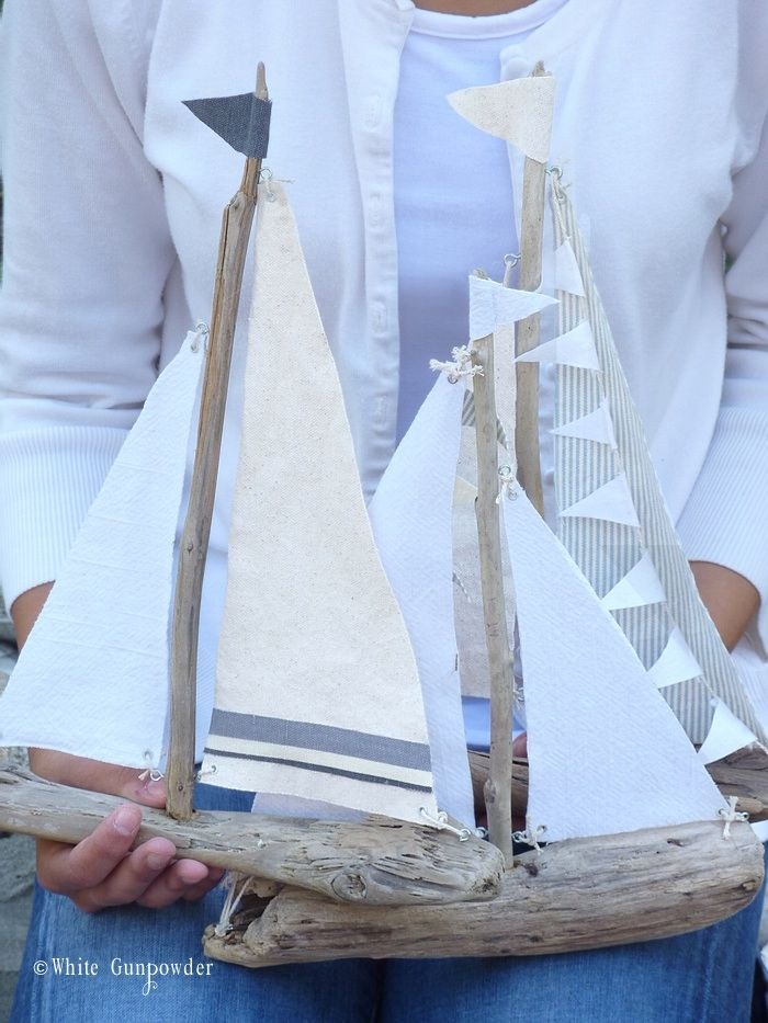 DIY Driftwood Sailboats - White Gunpowder