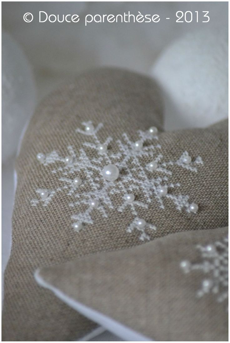 Love these linen hearts withe snowflake pattern in white with pearls