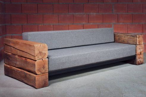 Industrial Handmade Seater Sofa Bed Made Of Raw Wood And Upholstered Seat Custom Orders Are Possible I Will Make A Sofa In 2020 Rustic Sofa Diy Sofa Bed Wooden Couch