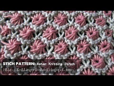 ▶ HD Knitting Video - Aster Flower Stitch Pattern - YouTube ♡ Teresa Restegui http://www.pinterest.com/teretegui/ ♡