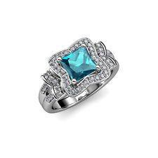 6.3mm лондонский голубой топаз и бриллиант halo обручальное кольцо 14K белое золото JP:109226