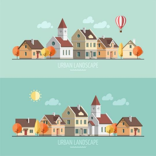 Flat design urban landscape - autumn on Behance
