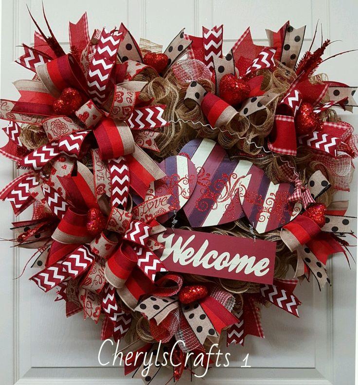 Valentine Wreath,Valentine's Day Wreath,Valentine's Mesh Wreath,Welcome Wreath,Valentines Day by CherylsCrafts1 on Etsy