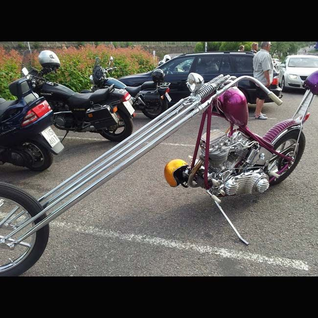 Light Purple Chopper With Really Long Springer Forks 1 Of 6 Pics In Choppers With A Lot Of Rake