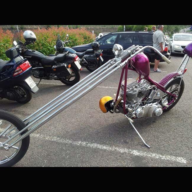 Light Purple Chopper With Really Long Springer Forks 1 Of