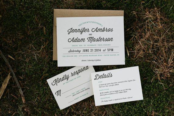 Mint Wedding Invitation Wedding Invitation by howlcreativeco