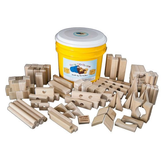 Wooden Building Blocks-118 Blocks In A Bright Colored Bucket