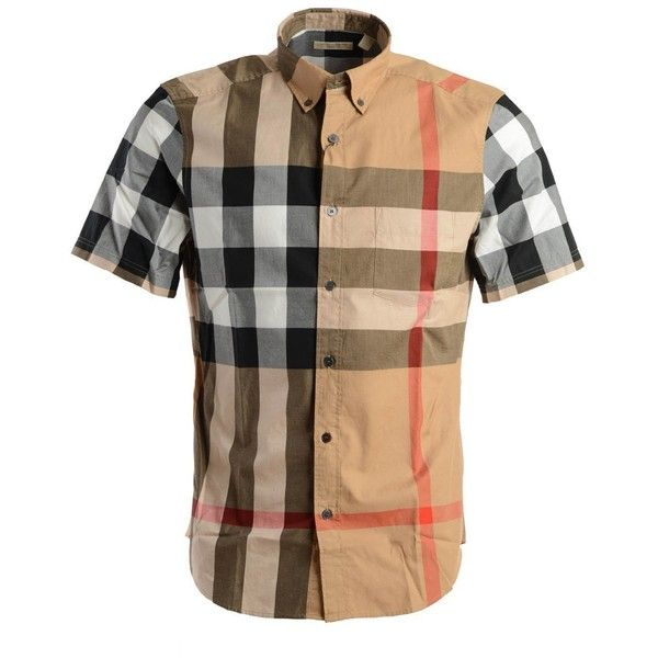 Burberry Shirts ($230) ❤ liked on Polyvore featuring men's fashion, men's clothing, men's shirts, men's casual shirts, beige, mens short sleeve button down shirts, mens casual button up shirts, mens short sleeve button up shirts, burberry mens shirts and mens short sleeve shirts